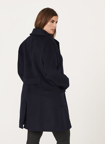 Marcona - Faux Fur Trim Wool Blend Coat, Blue, hi-res