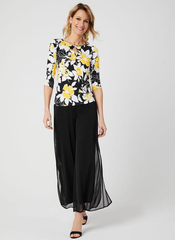 Haut à manches ¾ et imprimé floral texturé, Noir, hi-res