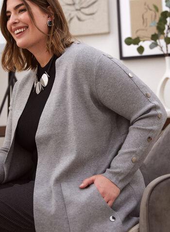 Cardigan mi-long à détails boutonnés, Gris,  automne hiver 2020, cardigan, tricot, ouvert, manches longues, boutons, poches, tricot