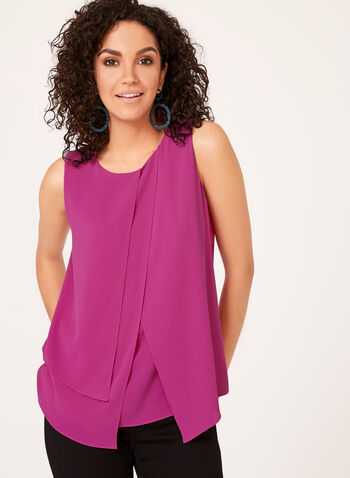 Asymmetric Layered Crepe Top, Pink, hi-res