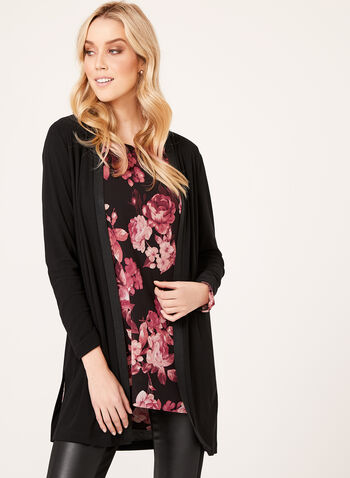 Long Open Front Cardigan, Black, hi-res