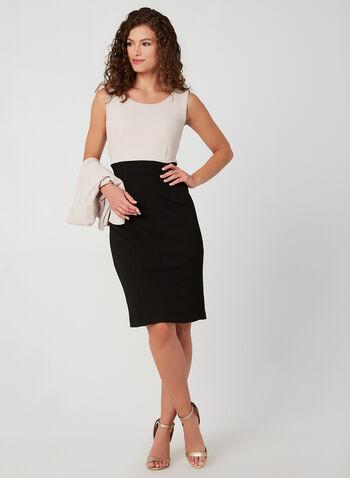 Colour Block Dress & Jacket Set, Black, hi-res,  fall winter 2019, dress, jacket, long sleeve dress, 3/4 sleeve, knit