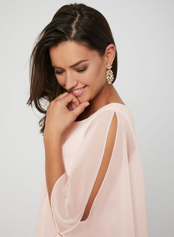 Brocade Poncho Dress, Pink, hi-res,  Spring 2019, cocktail dress, short dress, cold-shoulder