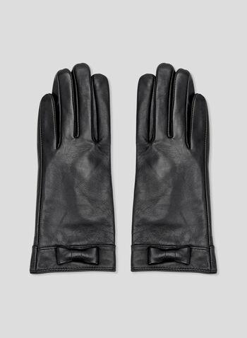 Genuine Leather Gloves, Black, hi-res