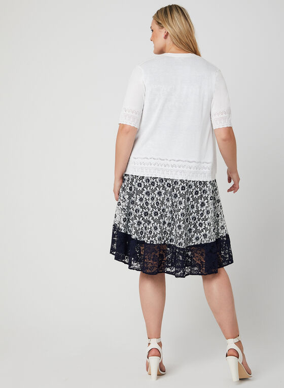 Pointelle Knit Bolero, White, hi-res