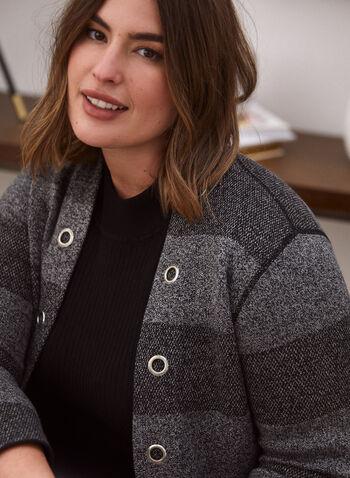 Open Front Striped Cardigan, Grey,  fall winter 2020, cardigan, open, long sleeves, eyelets, knit, pockets, stripes, pattern, striped