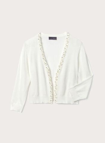 Boléro ouvert en tricot perlé, Blanc cassé, hi-res