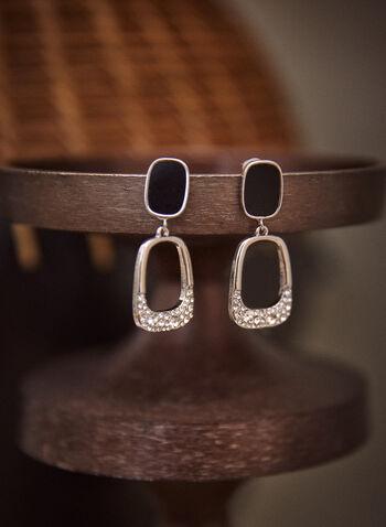 Boucles d'oreilles pendantes rectangulaires, Noir,  accessoires, bijoux, boucles d'oreilles, modèle sur tige, pendentif, anneau rectangulaire, arrondi, cristaux, automne hiver 2021