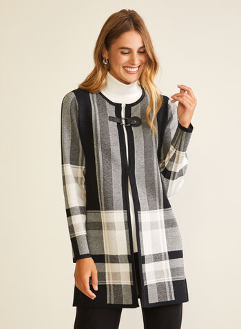 Tartan Print Long Cardigan, Black,  cardigan, long, long sleeves, tartan, buckle, fall winter 2020
