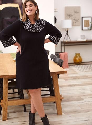 Leopard Print Sweater Dress, Black,  fall 2021, day dress, dress, sweater dress, knit dress, short, cowl neck, 3/4 sleeves, leopard print, animal print, neck, cuffs, thick, knit, comfy, jacquard, fabric