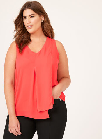 Layered Capelet Front Popover Blouse, Pink, hi-res