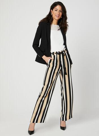 Pantalon pull-on rayé à jambe large, Noir, hi-res,  pantalon, pull-on, jambe large, rayures, ceinture en corde, printemps 2019