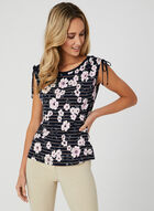 Floral & Line Print Top, Blue, hi-res