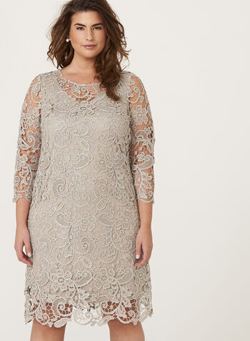 Metallic Lace Shift Dress, Brown, hi-res
