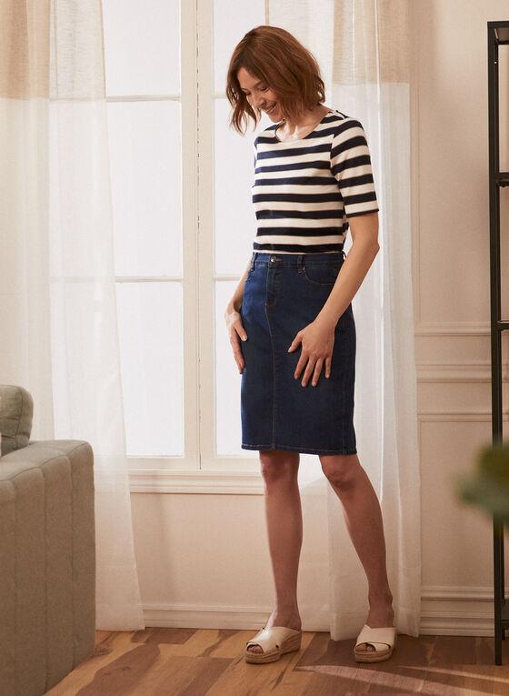 Denim Straight Skirt, Blue