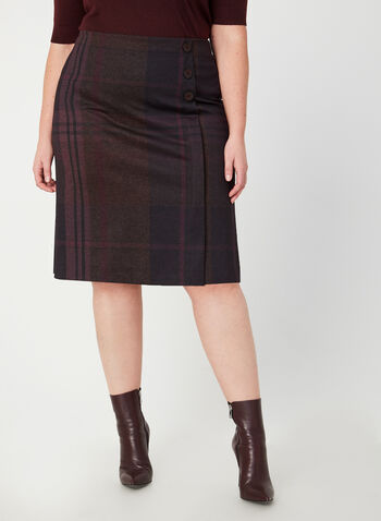 Plaid Ponte de Roma Skirt, Purple, hi-res,  Canada, plaid, skirt, Ponte de Roma, fall 2019, winter 2019