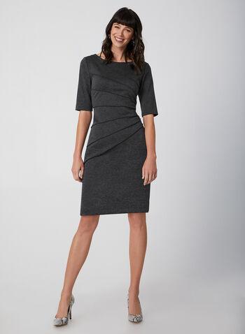 Elbow Sleeve Sheath Dress, Grey,  fall winter 2019, sheath dress, ponte de roma, elbow sleeves, long sleeve