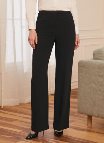 Pleated Straight Leg Pants, Black,  pants, straight leg, pleats, spring summer 2021