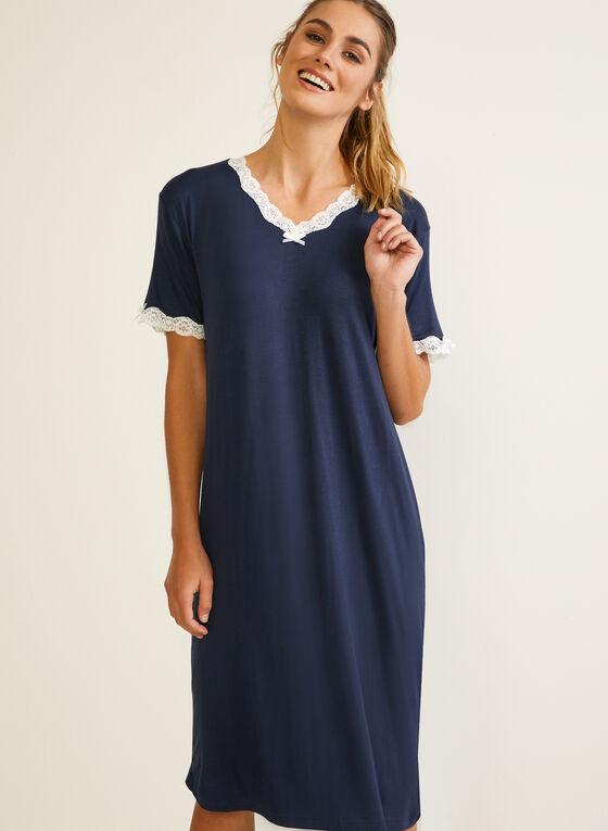 Lace Trim Detail Nightshirt, Blue