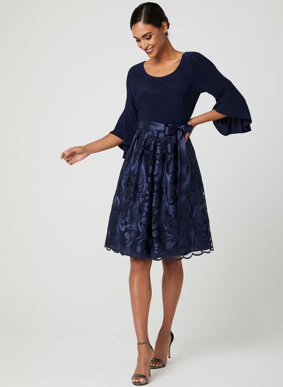 Robe avec jupe brodée et ceinture ruban , Bleu, hi-res