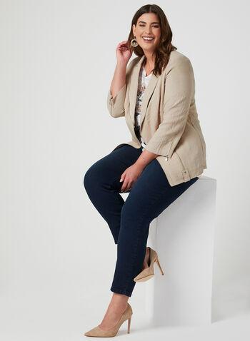 Vex - Blazer à détails zippés, Brun, hi-res,  veste, manches longues, zip, œillets, épaulettes, printemps 2019