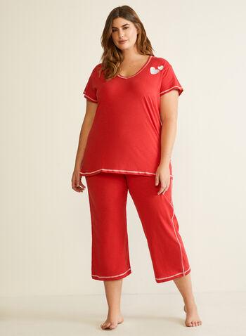 Two-Piece Pyjama Set, Red,  fall winer 2020, pyjamas, capris, nightshirt