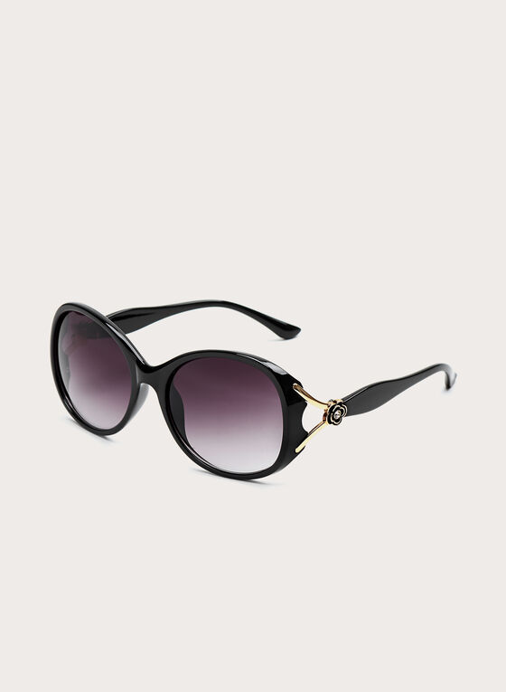 Round Plastic Floral Detail Sunglasses, Black, hi-res