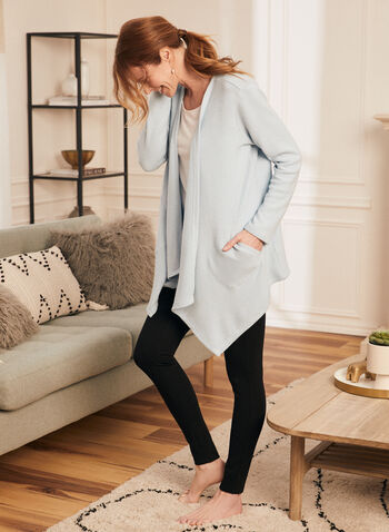 Long Sleeve Knit Cover-Up, Blue,  top, cover up, sweater knit long sleeves, pocket, fall winter 2020