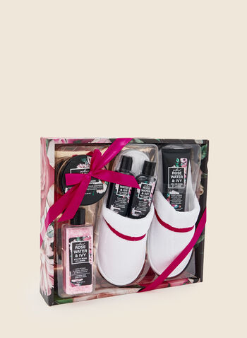 Rose Water Foot Care Set, Pink,  holiday, gift, holiday 2020, beauty, lavender, skincare, foot care, slippers, fall winter 2020
