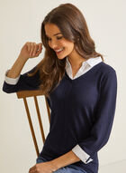 Fooler-Style Shirt Collar Sweater, Blue