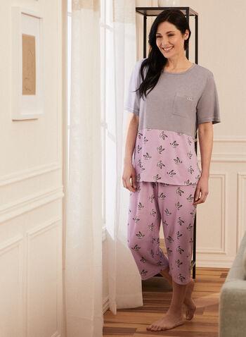 Bird Print Pyjama Set, Grey,  set, ensemble, pyjamas, monochrome, bird print, short sleeves, round neck, pull-on, drawstring, spring summer 2021