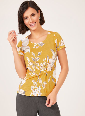 Floral Print Gathered Top, Yellow, hi-res