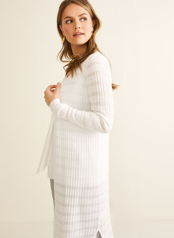 Open Front Long Sleeve Cardigan, White,  cardigan, long, long sleeves, fine knit, sheer, stretchy, open front, spring summer 2020