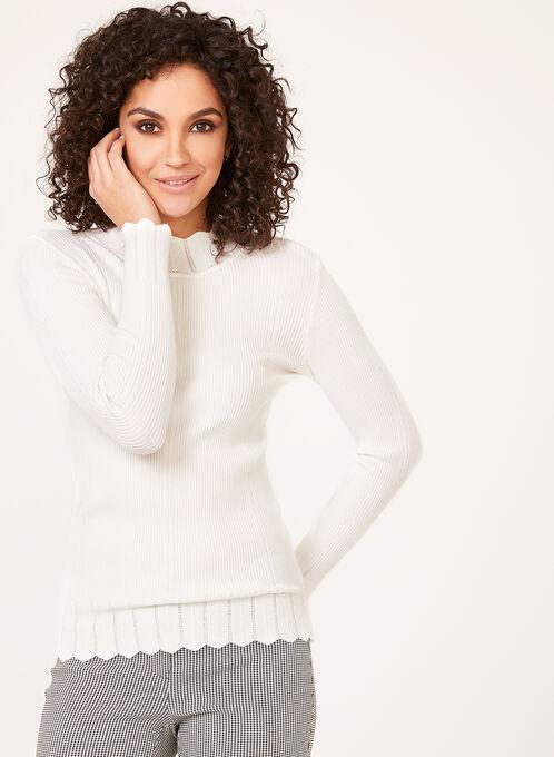 Vex - Pull tricot côtelé échancré à col montant , Blanc cassé, hi-res