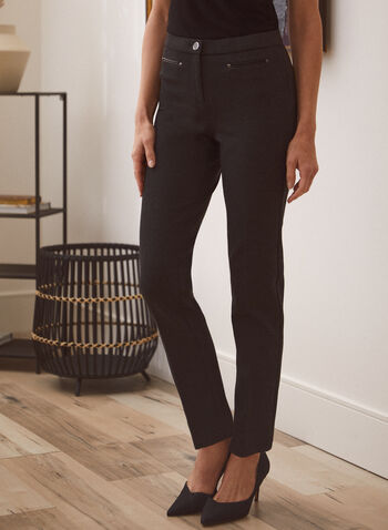 Signature Fit Straight Leg Pants, Grey,  pants, signature, straight, ponte di roma, fall winter 2020