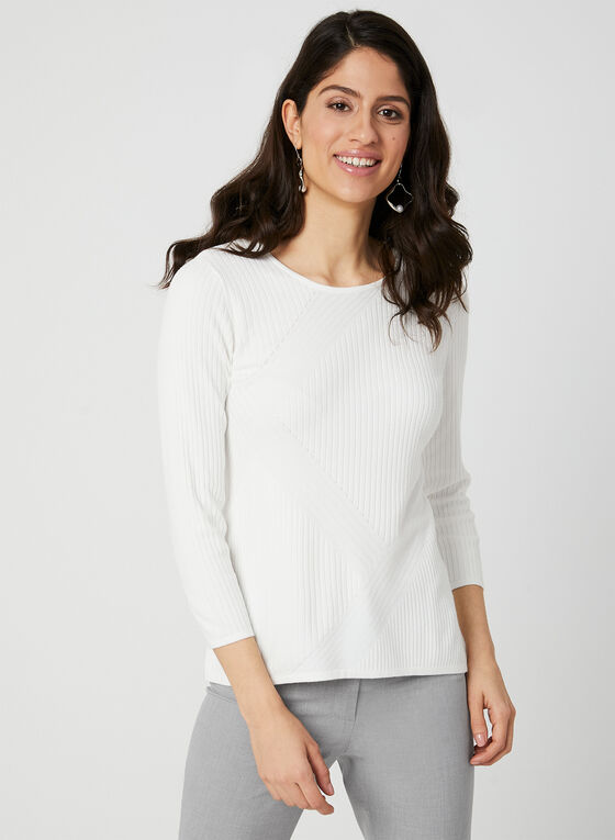Scoop Neck Ribbed Knit Sweater, Off White