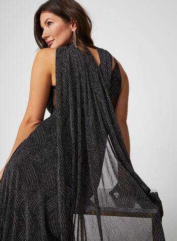 Empire Waist Dress, Grey,  dress, gown, occasion dress, empire waist, sleeveless, V-neck, V-back, mesh, fall 2019, winter 2019