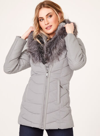 Ellabee - Faux-Leather Sleeve Quilted Coat , Grey, hi-res