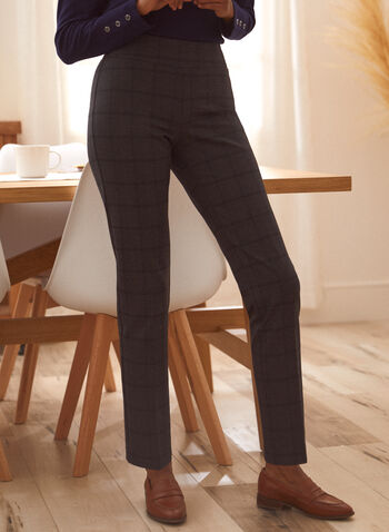 Plaid Print Pants, Grey,  fall winter 2021, bottoms, pants, pull on, checkered, check, mid rise, pleated