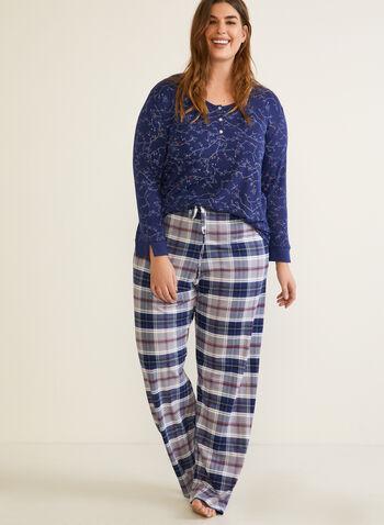 Tartan Print Pyjama Set, Blue,  fall winter 2020, pyjama set