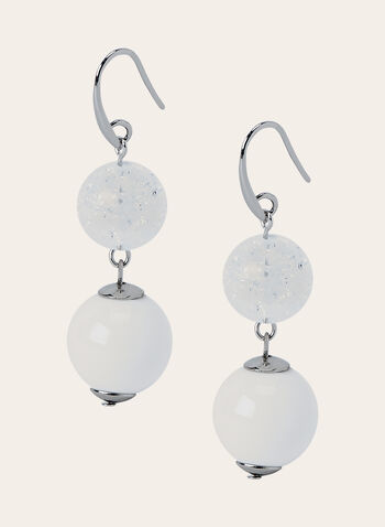 Pearl Dangle Earrings, White, hi-res