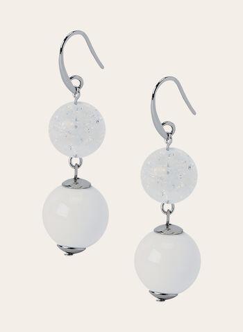 Boucles d'oreilles à pendants perles, Blanc, hi-res
