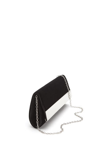 Metallic Trim Velvet Clutch, Black, hi-res