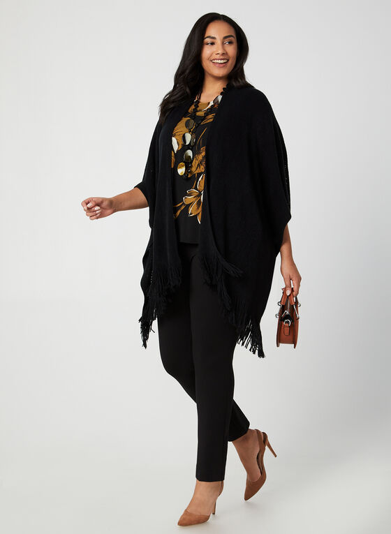 Echo New York - Fringed Pointelle Poncho, Black