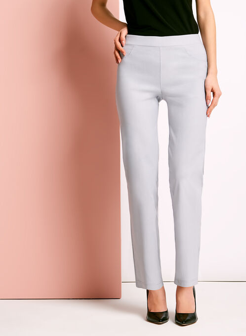 City Fit Pull-On Straight Leg Pants, Silver, hi-res