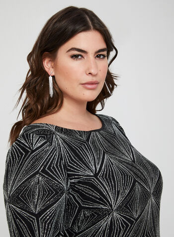 Geometric Print Sequin Dress, Black,  cocktail dress, 3/4 sleeves, boat neck, straight fit, sequin, fall 2019