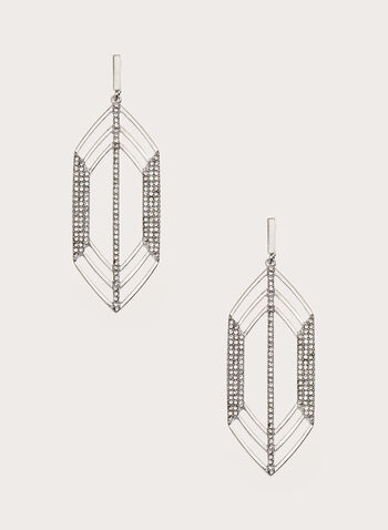 Elongated Geometric Crystal Earrings, Silver, hi-res
