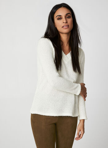Chenille V-Neck Top, Off White, hi-res,  Canada, knit, top, chenille, long sleeves, V-neck, fall 2019, winter 2019
