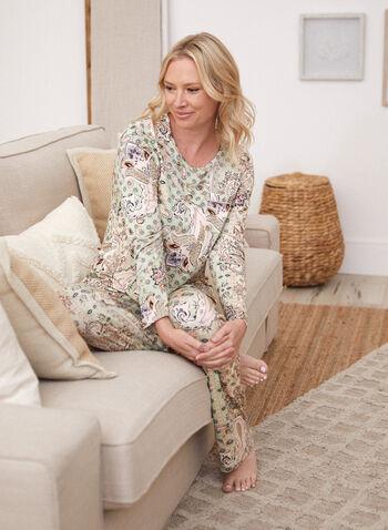 Pantalon de pyjama à motif cachemire, Vert,  pyjama, nuit, pantalon, à enfiler, pull-on, taille élastique, motif, imprimé, cachemire, jambe large, extensible, automne 2021