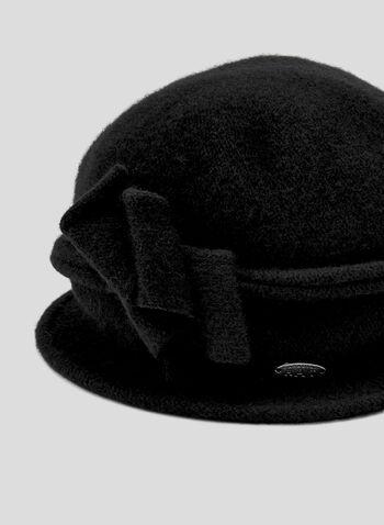 Chapeau cloche en laine et détail nœud, Noir, hi-res